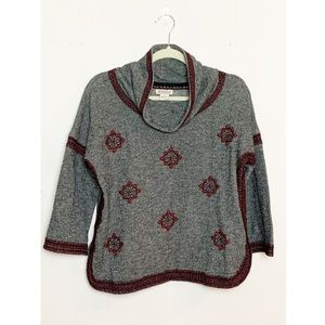 Lucky Brand Embroidered Cowl Neck Sweater Gray